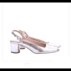 Zara Women Silver Metallic Sling Back Heels Size 8